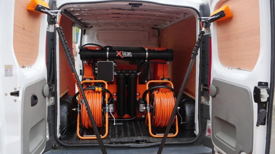 window cleaning equipment in van