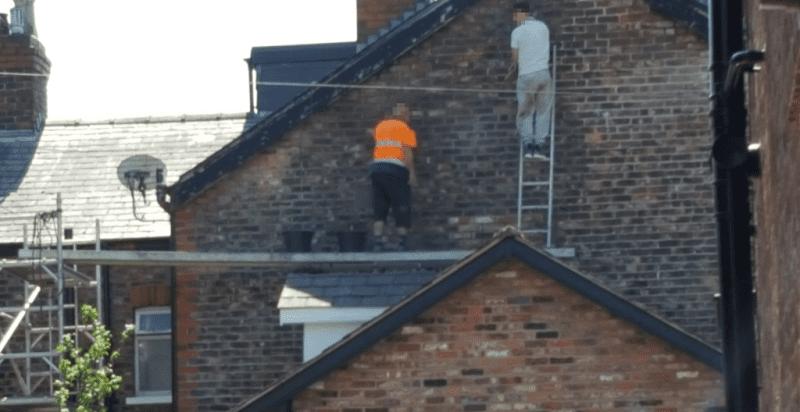 Unsafe brick mortar repointing