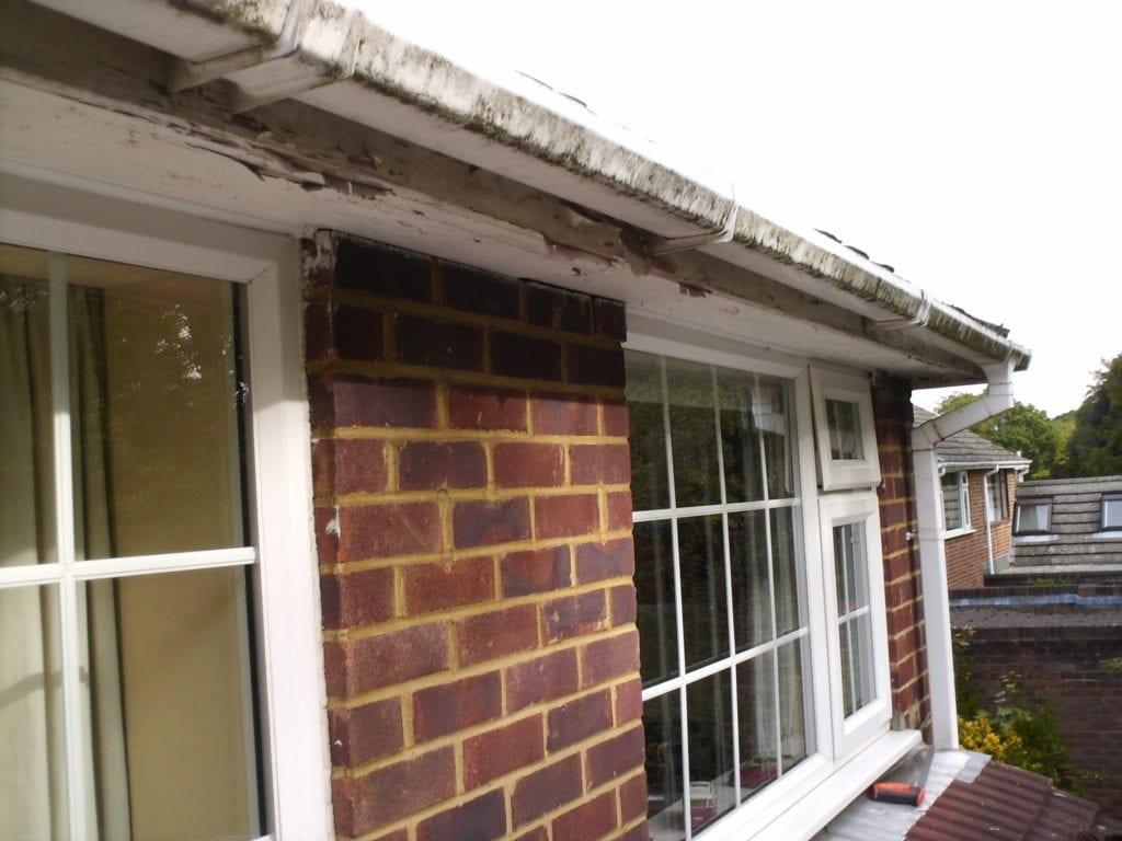 Old roofline with old fascias and soffits