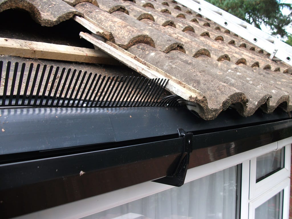eaves felt, bird stopper and roof tiles at the eaves